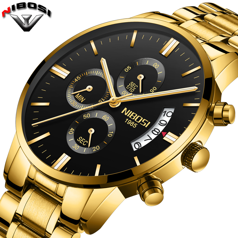 2018 NIBOSI Gold Quartz Watch